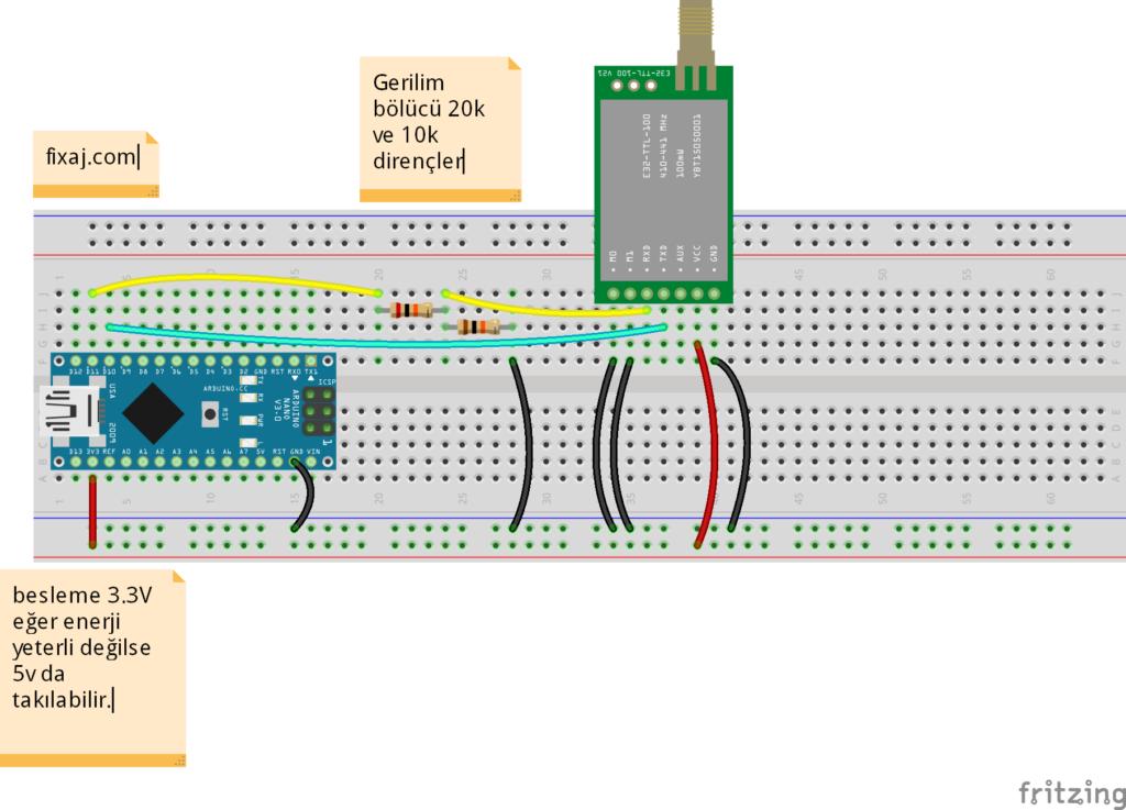 E32- 433T20D bağlantı şeması